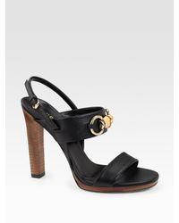 Gucci | Black Miss Bamboo Sandals | Lyst