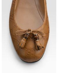 Gucci | Natural Gg Ballet Flats | Lyst