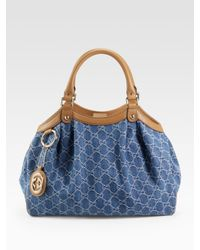 Gucci | Blue Sukey Medium Tote | Lyst