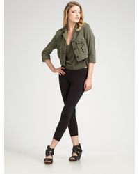 James Perse | Black Cropped Military Jacket | Lyst