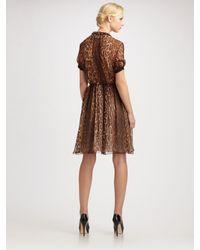 Jason Wu - Brown Animal Print Chiffon Short Sleeve Dress - Lyst