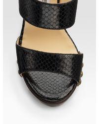 Jimmy Choo | Black Ulrika Snake-embossed Platform Sandals | Lyst