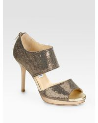 Jimmy Choo | Lagoon Platform Metallic & Glitter-covered Leather Sandals | Lyst