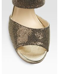 Jimmy Choo - Lagoon Platform Metallic & Glitter-covered Leather Sandals - Lyst