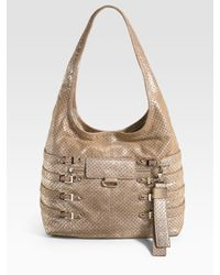 Jimmy Choo | Metallic Bardia Perforated Suede Hobo | Lyst