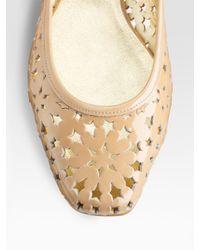 Jimmy Choo | Natural Wand Cutout Patent Leather Ballet Flats | Lyst