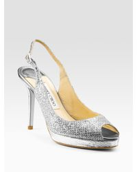 Jimmy Choo | Metallic Nova Glitter-covered Leather Peep-toe Pumps | Lyst