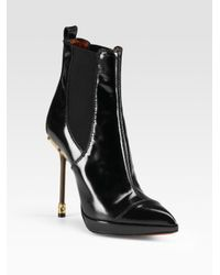 Jonathan Kelsey - Black Point-toe Patent Leather Ankle Boots - Lyst