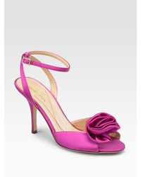 kate spade new york | Pink Satin Sandals | Lyst