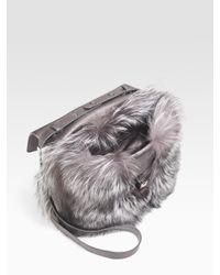 Michael Kors   Metallic Fox Fur Shoulder Bag   Lyst