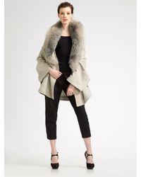 Nina Ricci - Natural Fur-collar Cardigan - Lyst