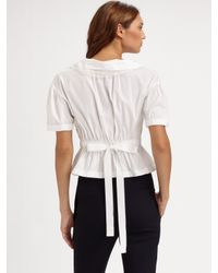 Nina Ricci - White Cotton Peplum Blouse - Lyst