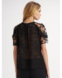 Oscar de la Renta - Black Lace & Chiffon Short Sleeve Blouse - Lyst
