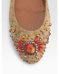 Oscar de la Renta - Natural Metallic-cork Embroidered Ballet Flats - Lyst
