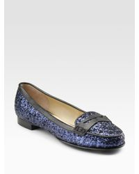 Pour La Victoire | Blue Glitter-covered Leather Loafers | Lyst