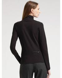 Prada - Black Jersey Mock Turtleneck Top - Lyst