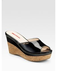 Prada | Black Patent Leather Wedge Slides | Lyst