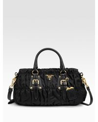 Prada - Black Tessuto Gaufre Top Handle Bag - Lyst