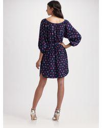 Rebecca Taylor - Blue Floral-print Silk Dress - Lyst