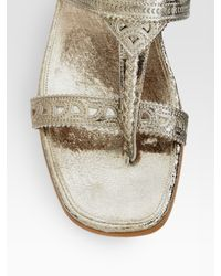 Sigerson Morrison | Cutout Metallic Leather Flat Sandals | Lyst