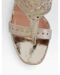 Sigerson Morrison | Metallic Leather Sandals | Lyst