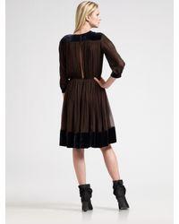 Sophie Theallet - Brown Velvet Banded Silk Dress - Lyst