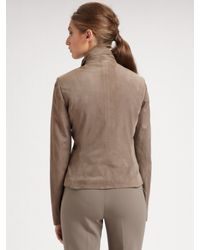 St. John - Natural Silken Suede Ruched Jacket - Lyst