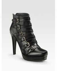 Stuart Weitzman | Black Buckled Ankle Boots | Lyst