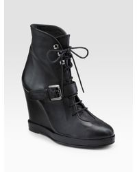 Surface To Air | Black Lace-up Wedge Ankle Boots | Lyst