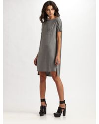 T By Alexander Wang | Gray Pocket Tee Dress | Lyst