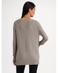 T By Alexander Wang - Gray V-neck Cardigan - Lyst