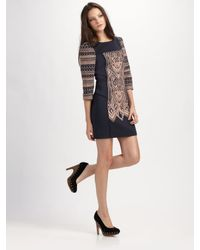 Tibi | Blue Byzantine Embroidery Shift Dress | Lyst