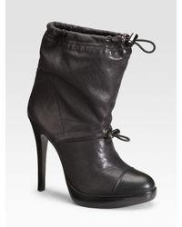 Tory Burch | Black Trisha Drawstring Ankle Boots | Lyst
