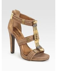 Tory Burch | Carla Beaded Metallic Suede Sandals | Lyst