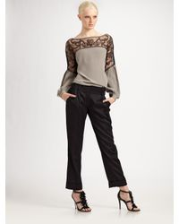 Tory Burch | Gray Embellished Silk Top | Lyst