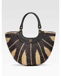 Tory Burch | Natural Straw Small Crescent Tote | Lyst