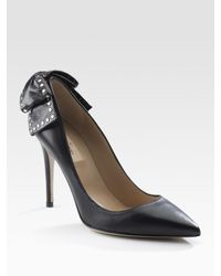 Valentino | Black Studded Bow Pumps | Lyst