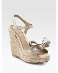 Valentino | White Couture Bow Espadrille Wedges | Lyst