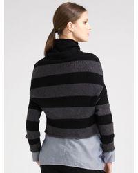 Vince - Gray Stripe Turtleneck Sweater - Lyst