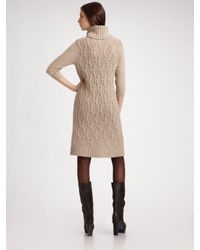 Weekend by Maxmara - Natural Cable-knit Sweater Dress - Lyst