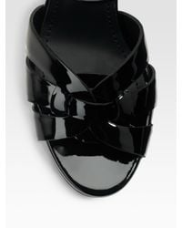 Saint Laurent - Black Tribute 75 Patent Sandals - Lyst