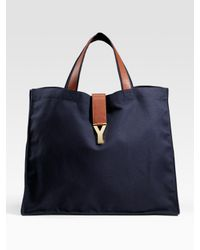Saint Laurent | Blue Y Large Canvas Shopping Tote | Lyst