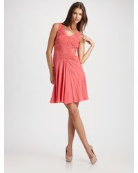 Zac Posen | Pink Stretch Georgette Godet Dress | Lyst