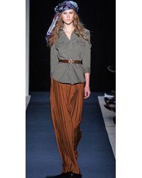 Charlotte Ronson - Brown Pleated Long Skirt - Lyst
