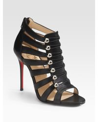 Christian Louboutin | Black Denis Multistrap Sandals | Lyst