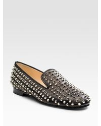 Christian Louboutin | Black Rollerball Spikes Flat | Lyst