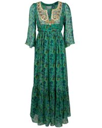 Leaves Of Grass | Green Floral Printed Maxi Dress | Lyst