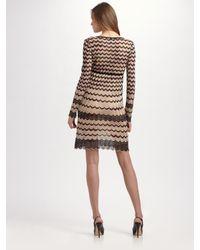 M Missoni - Natural Pointelle Zig-zag Tunic Dress - Lyst