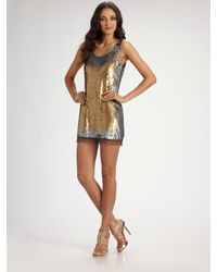 Badgley Mischka | Metallic Ombré Sequin Mini Tank Dress | Lyst