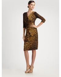 Max Mara | Metallic Ovidio Animal Print Faux Wrap Dress | Lyst